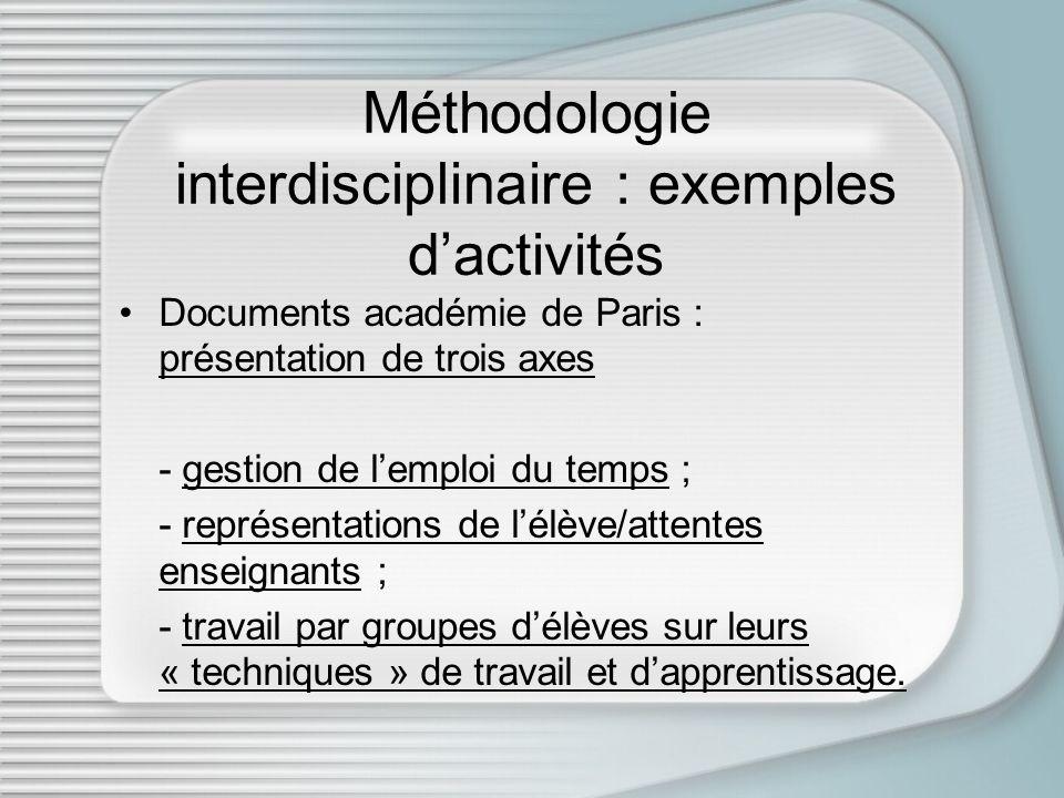 Méthodologie interdisciplinaire : exemples d'activités