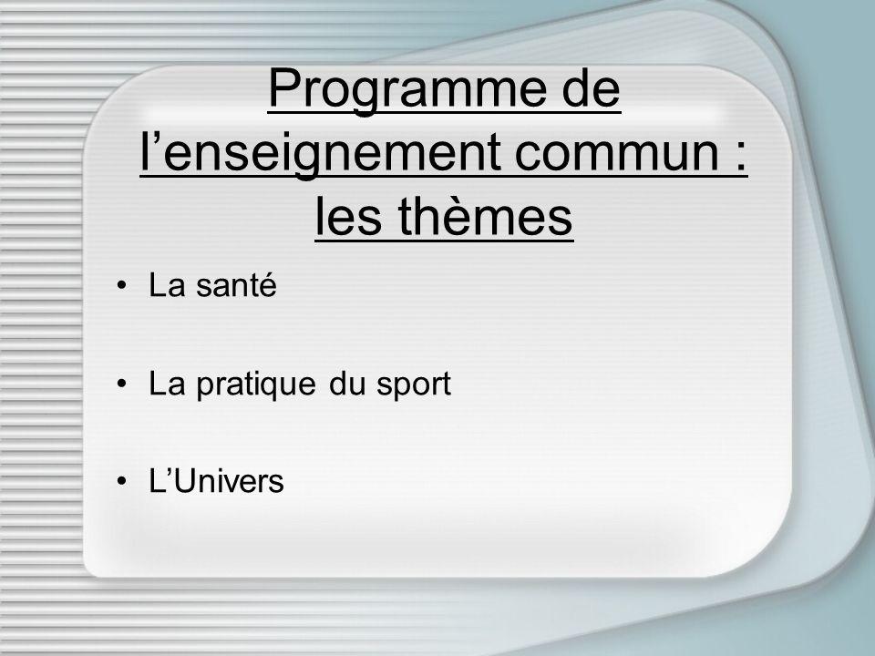 Programme de l'enseignement commun : les thèmes