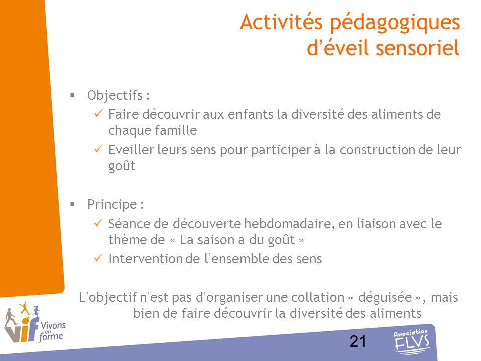 Activités pédagogiques d'éveil sensoriel