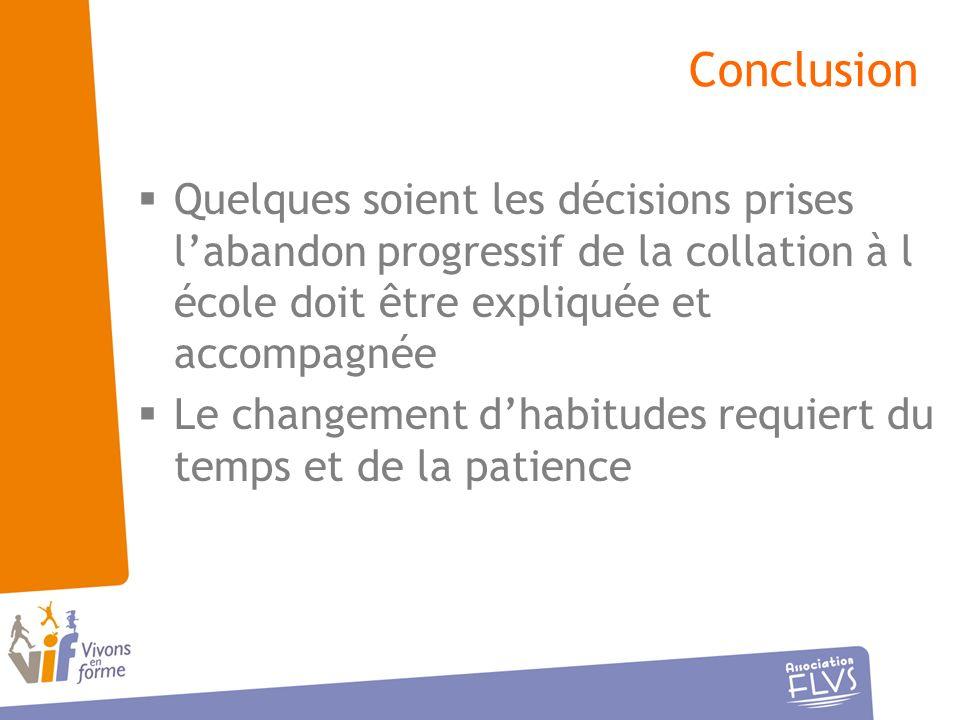 Conclusion Quelques soient les décisions prises l'abandon progressif de la collation à l école doit être expliquée et accompagnée.