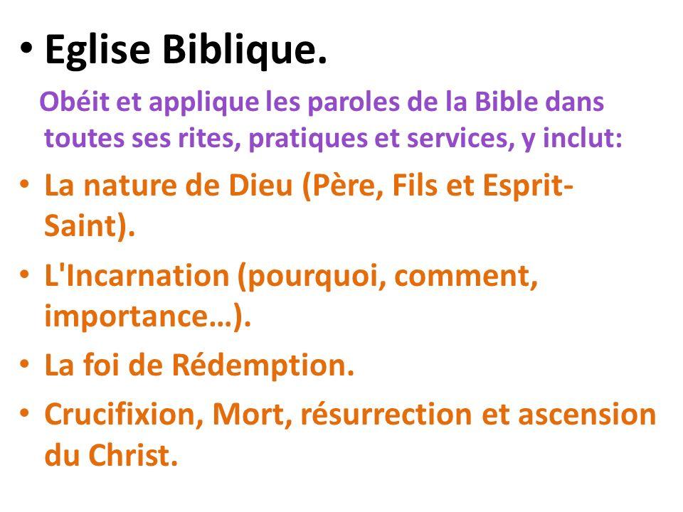 Eglise Biblique. La nature de Dieu (Père, Fils et Esprit-Saint).