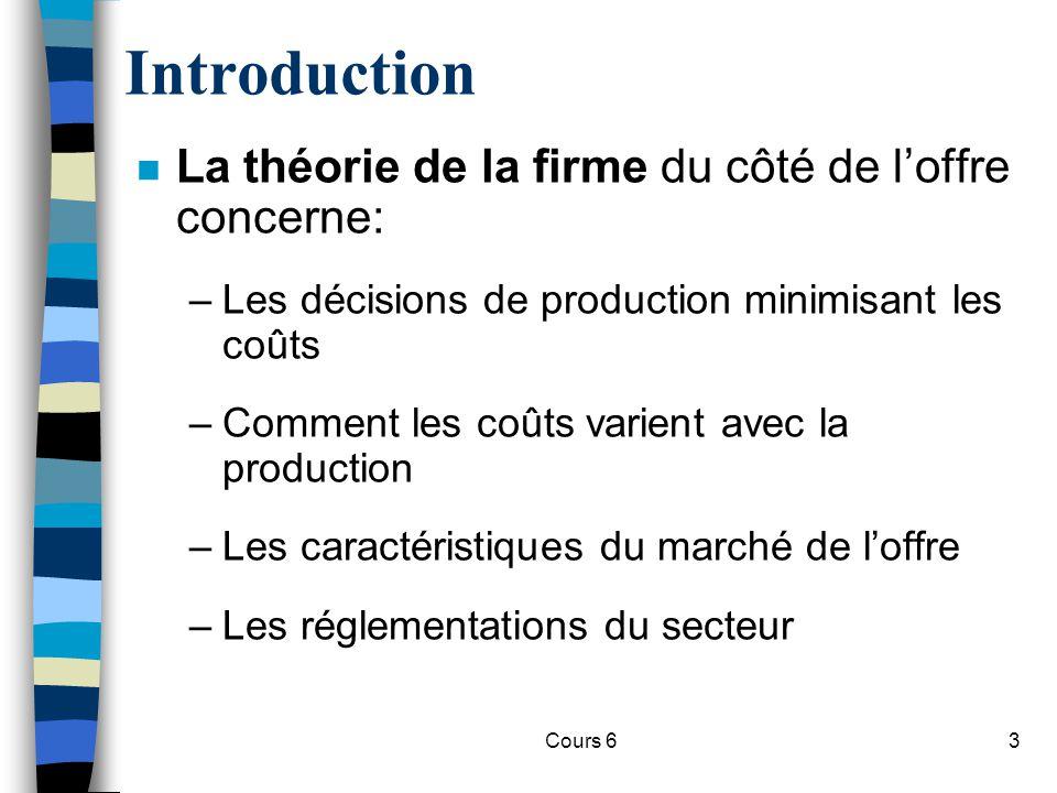 Introduction La théorie de la firme du côté de l'offre concerne: