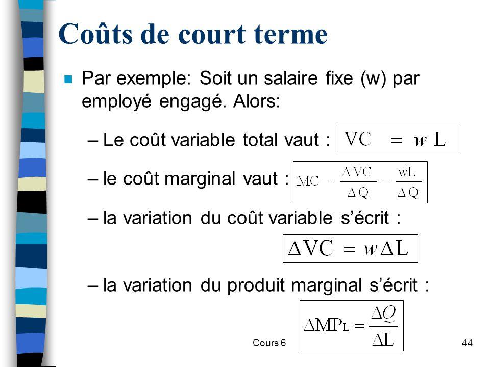 Coûts de court terme Par exemple: Soit un salaire fixe (w) par employé engagé. Alors: Le coût variable total vaut :