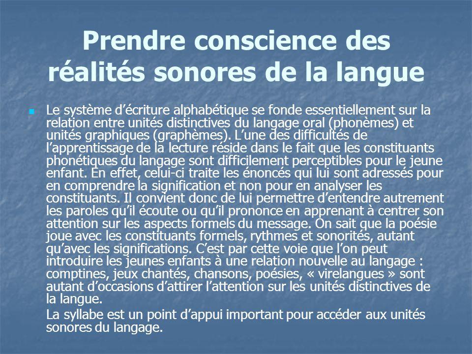 Prendre conscience des réalités sonores de la langue
