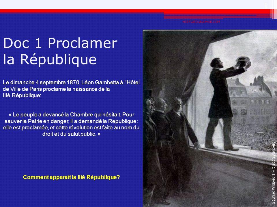 Doc 1 Proclamer la République