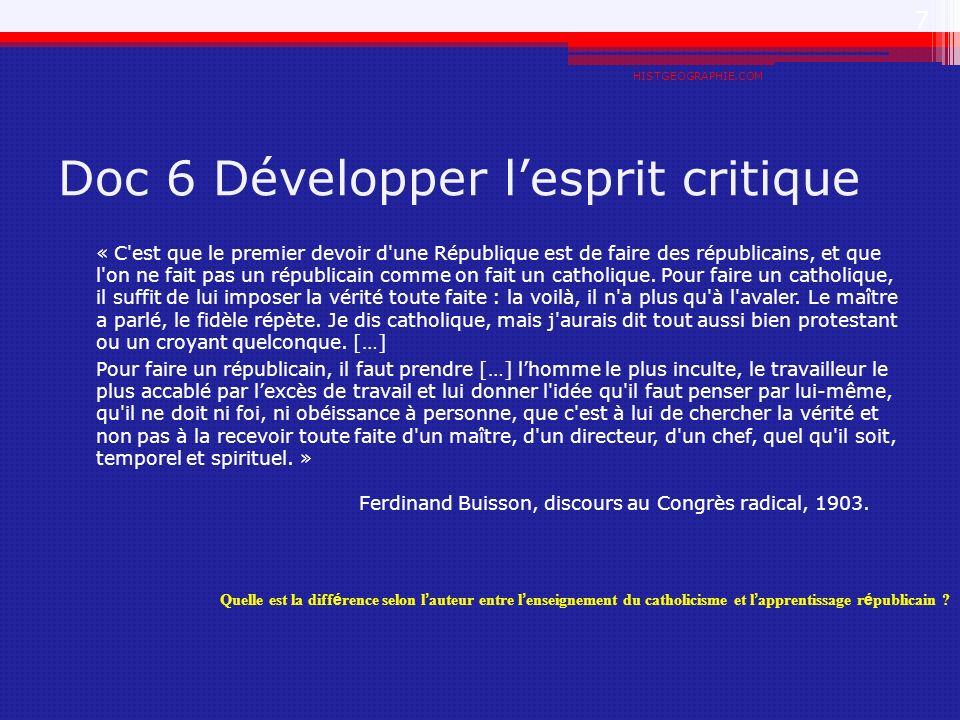 Doc 6 Développer l'esprit critique