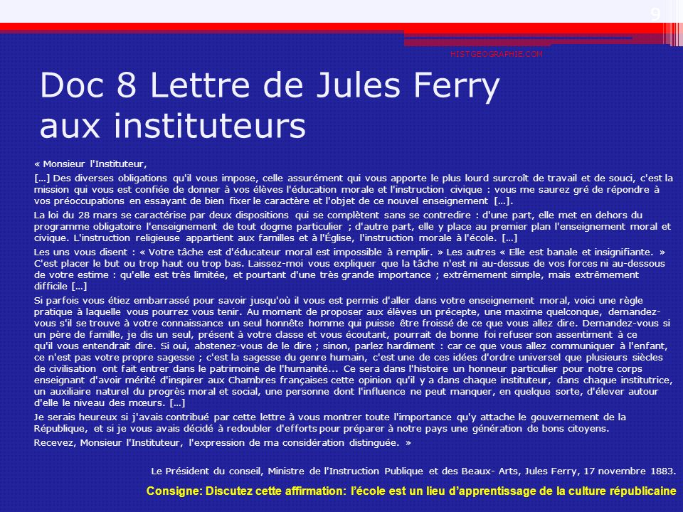 Doc 8 Lettre de Jules Ferry aux instituteurs