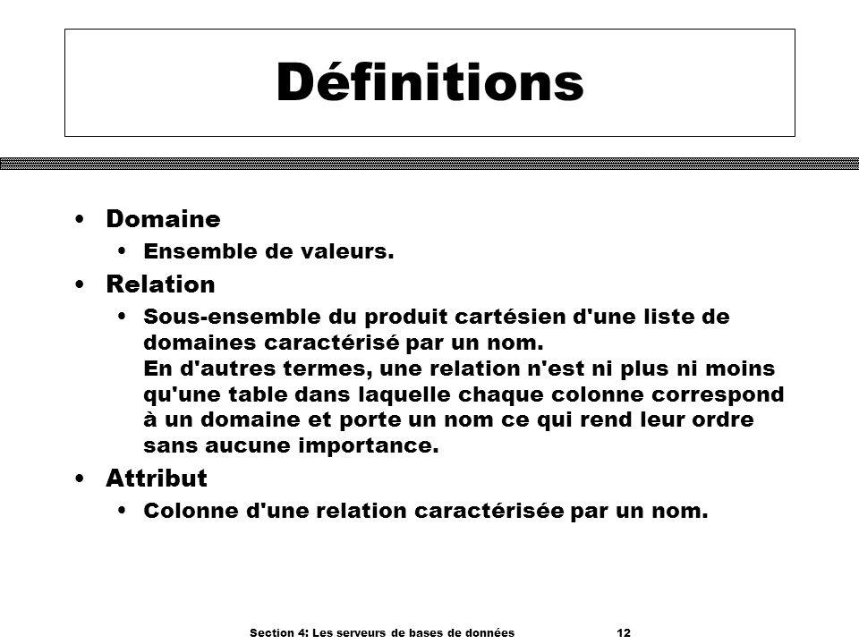 Section 4: Les serveurs de bases de données 12