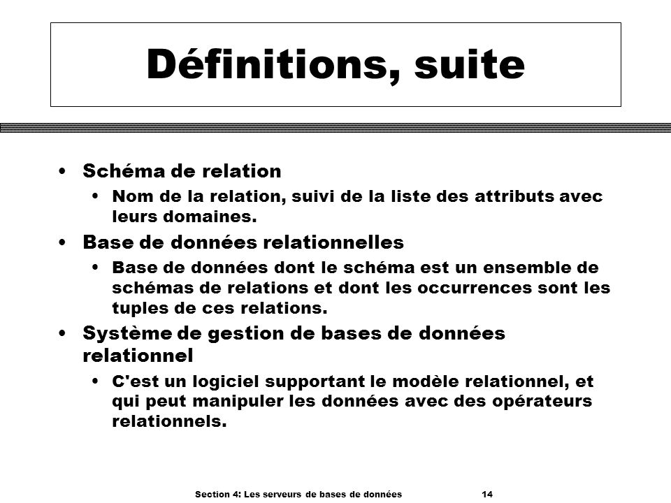 Section 4: Les serveurs de bases de données 14