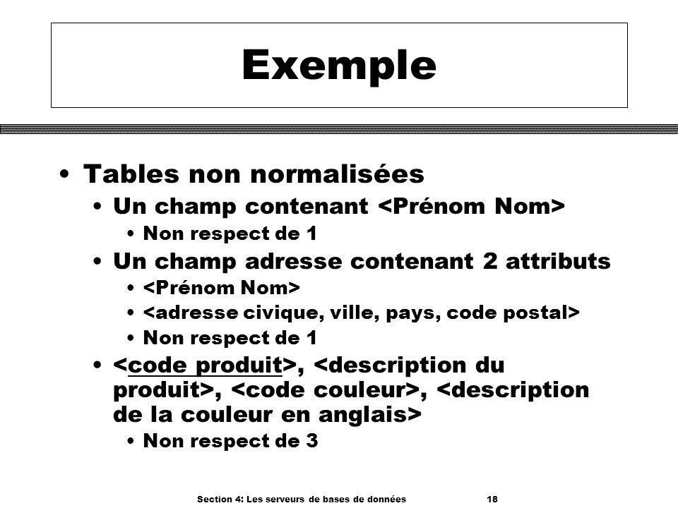 Section 4: Les serveurs de bases de données 18