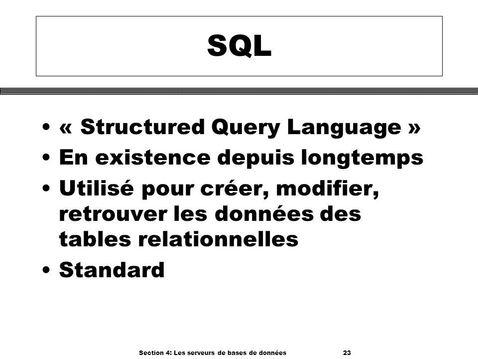 Section 4: Les serveurs de bases de données 23