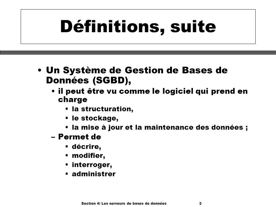 Section 4: Les serveurs de bases de données 3