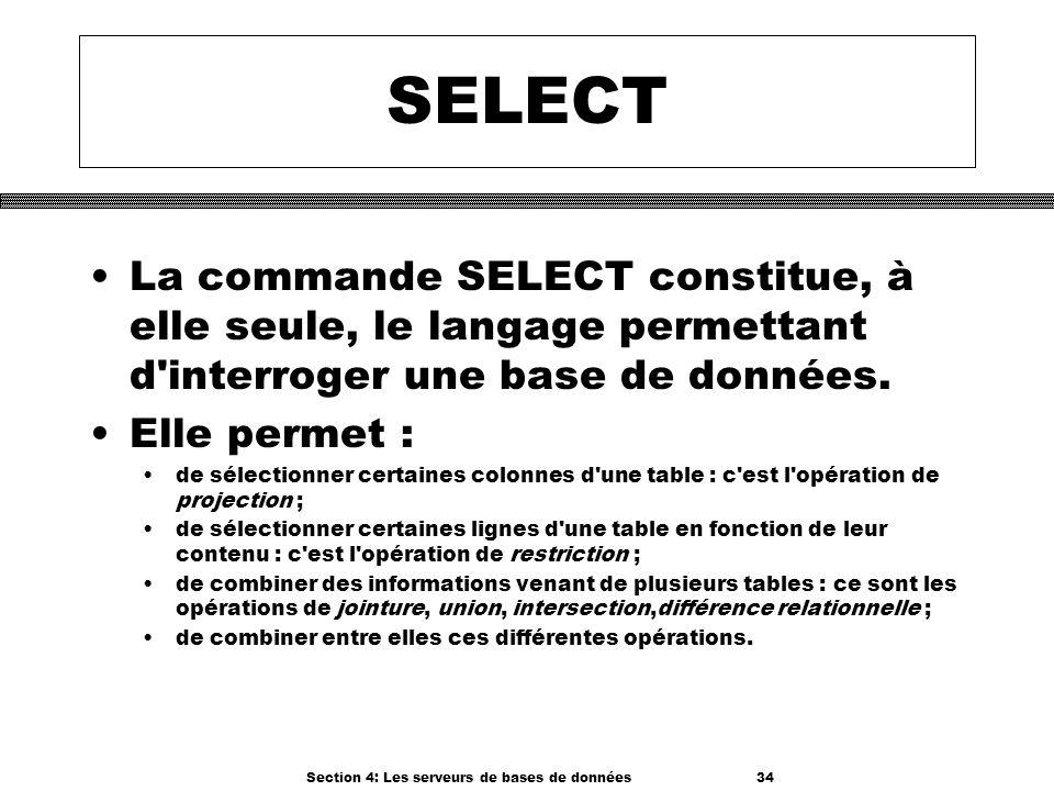 Section 4: Les serveurs de bases de données 34