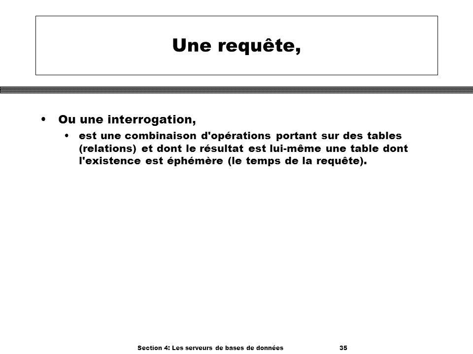Section 4: Les serveurs de bases de données 35