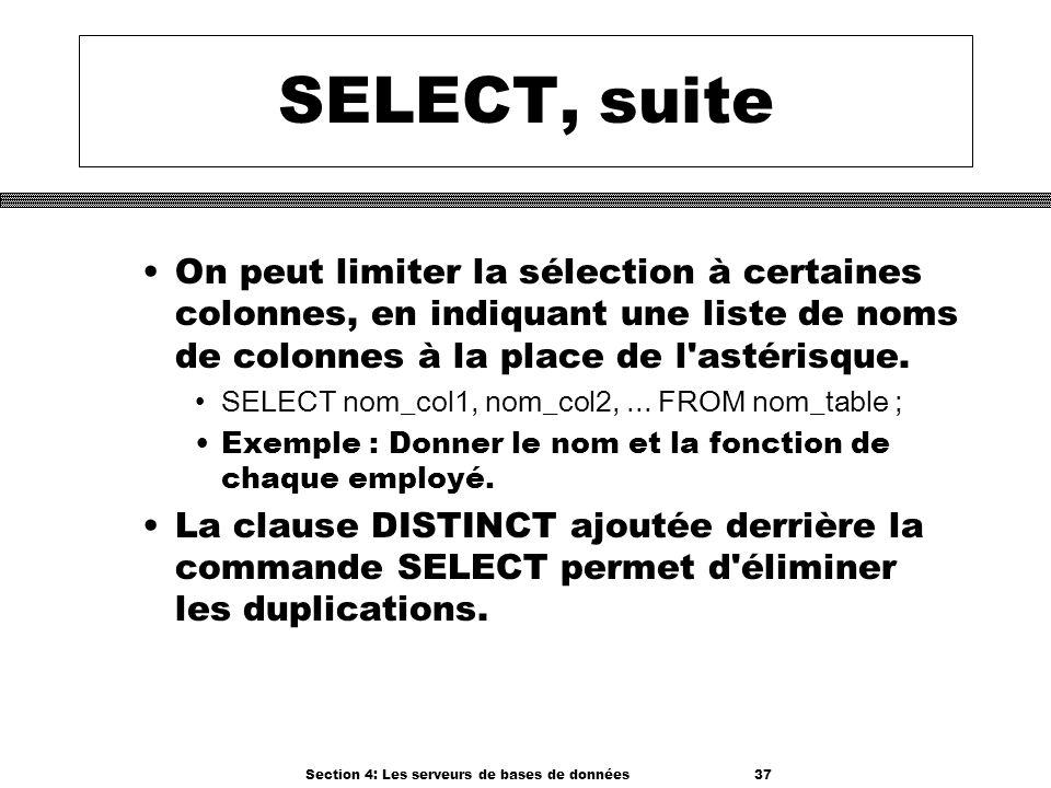 Section 4: Les serveurs de bases de données 37