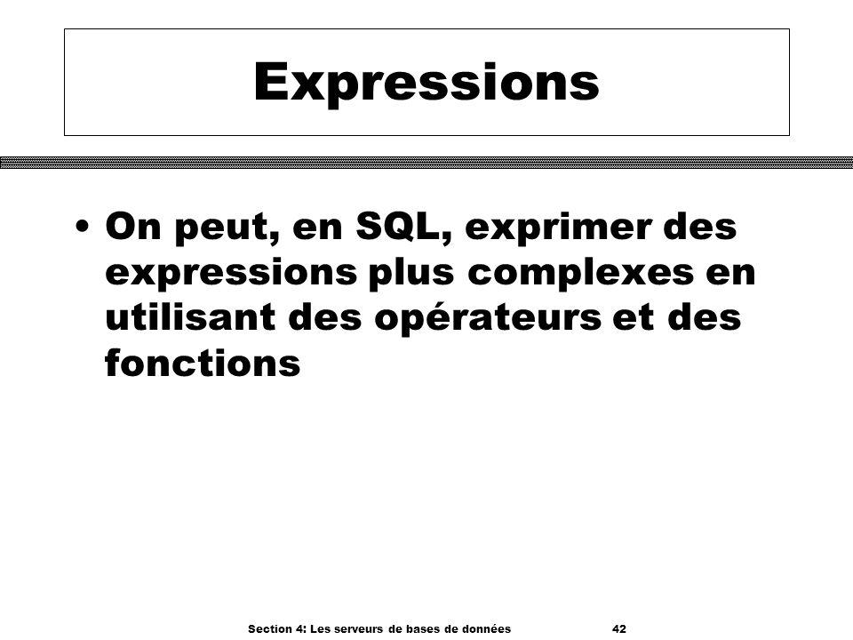 Section 4: Les serveurs de bases de données 42