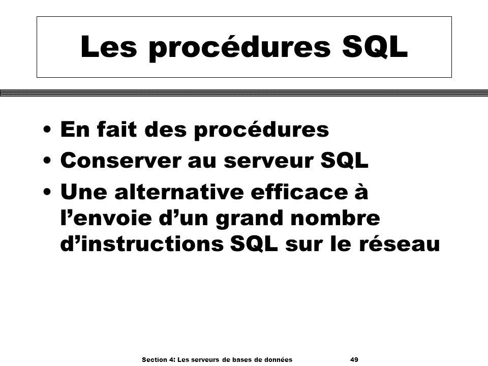 Section 4: Les serveurs de bases de données 49