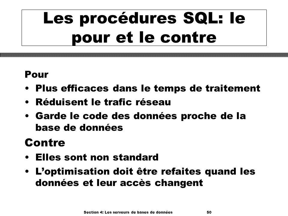 Les procédures SQL: le pour et le contre
