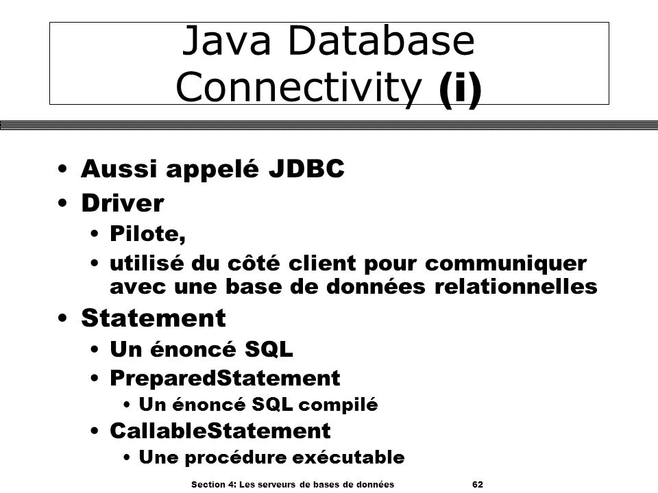 Java Database Connectivity (i)