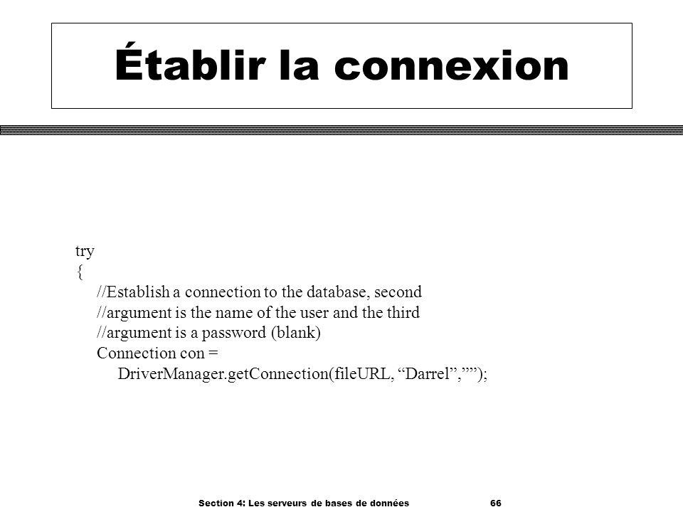 Section 4: Les serveurs de bases de données 66