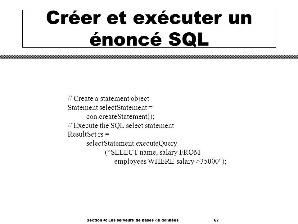 Créer et exécuter un énoncé SQL