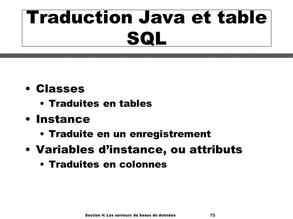 Traduction Java et table SQL