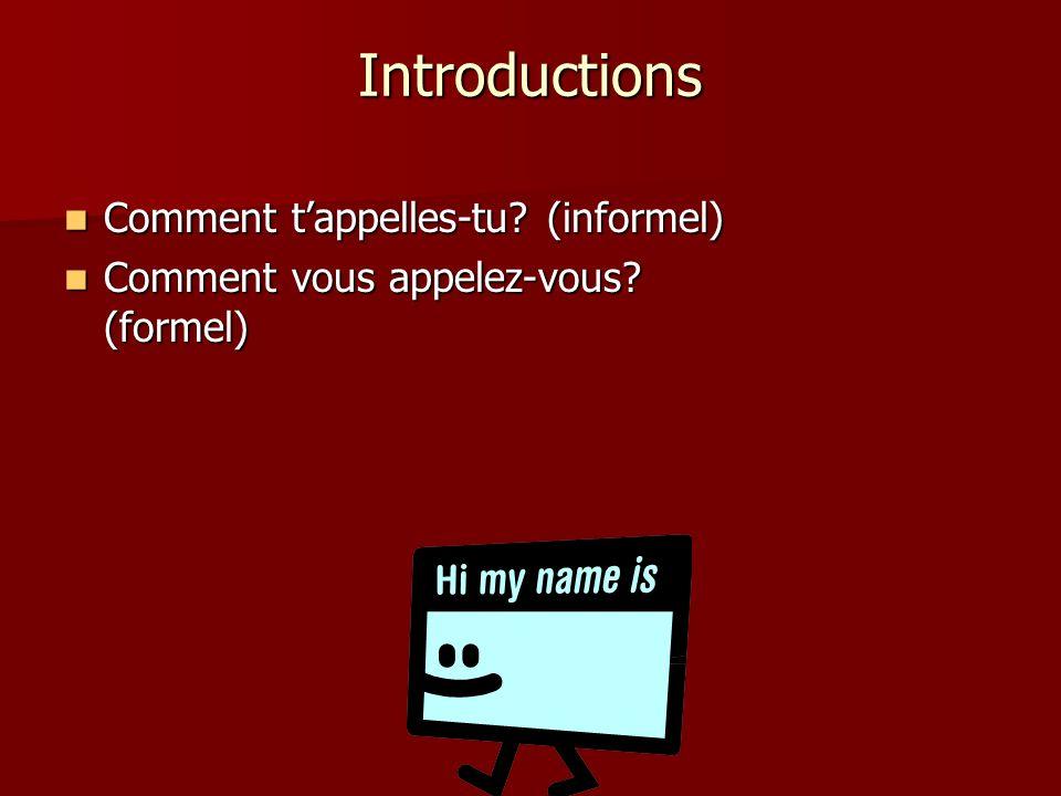 Introductions Comment t'appelles-tu (informel)