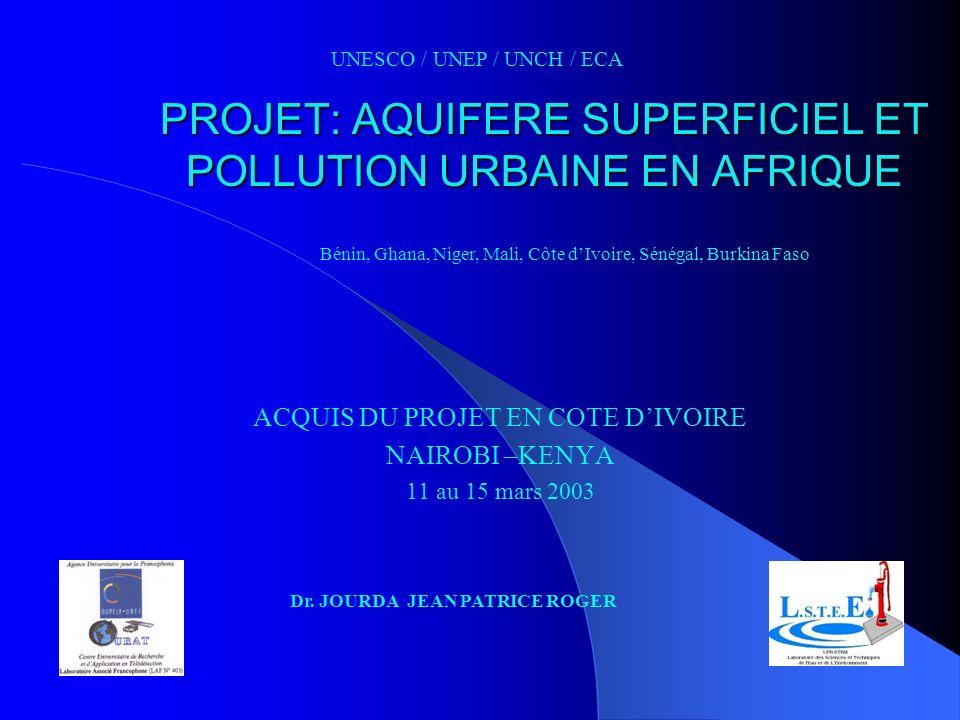 PROJET: AQUIFERE SUPERFICIEL ET POLLUTION URBAINE EN AFRIQUE