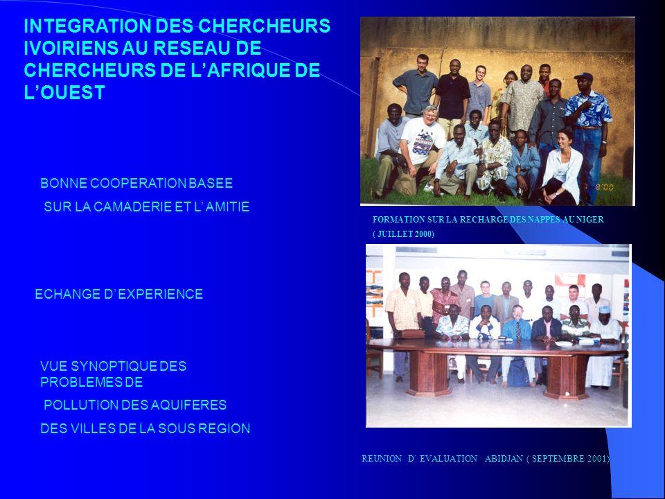 INTEGRATION DES CHERCHEURS IVOIRIENS AU RESEAU DE CHERCHEURS DE L'AFRIQUE DE L'OUEST