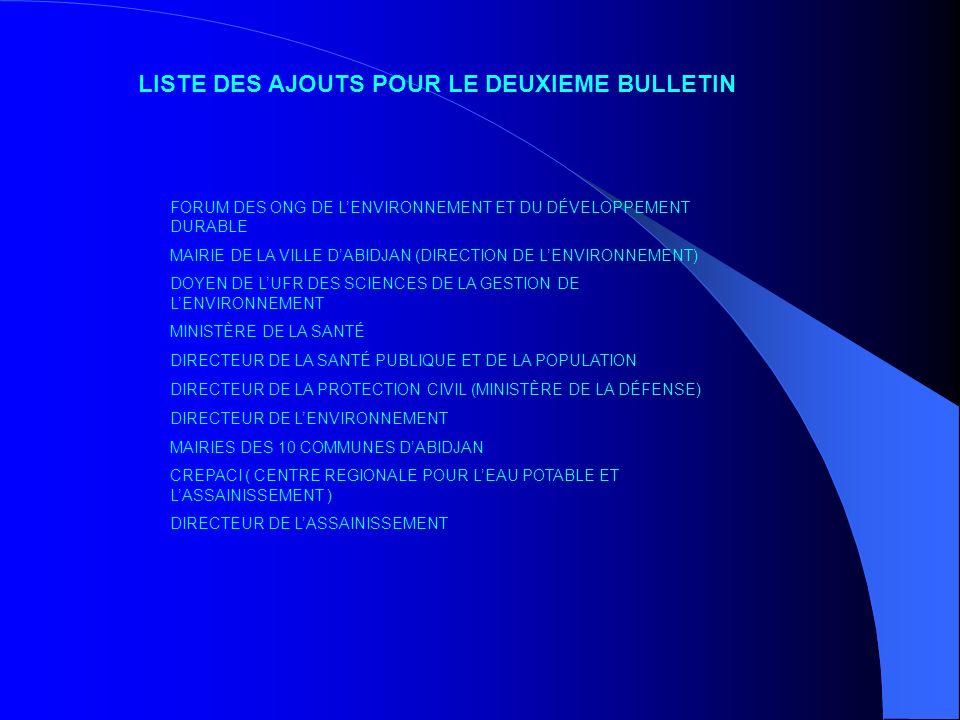 LISTE DES AJOUTS POUR LE DEUXIEME BULLETIN