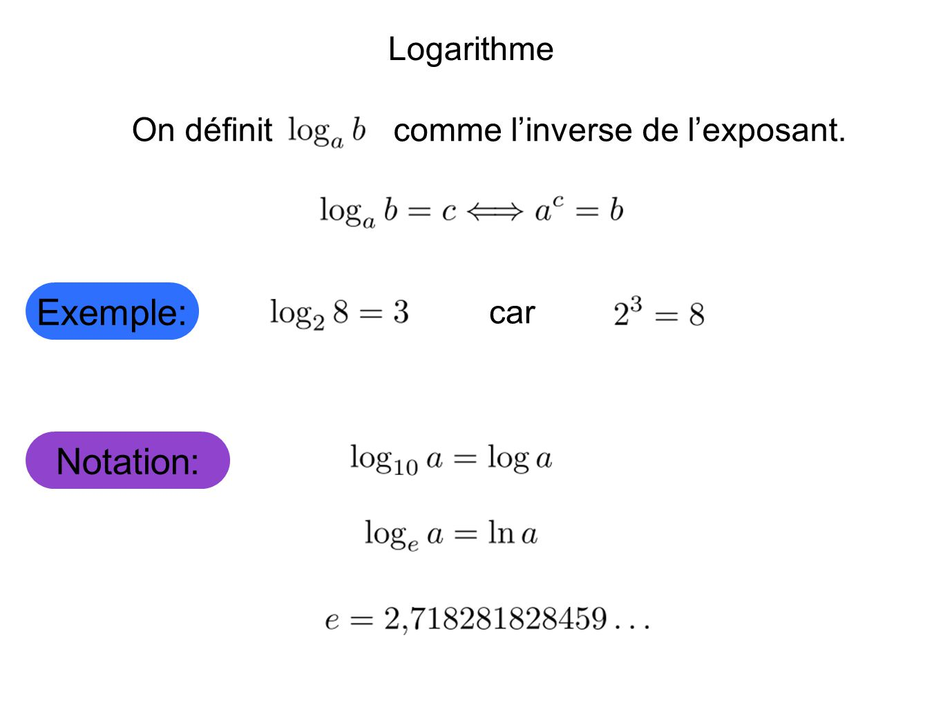 Exemple: Notation: Logarithme