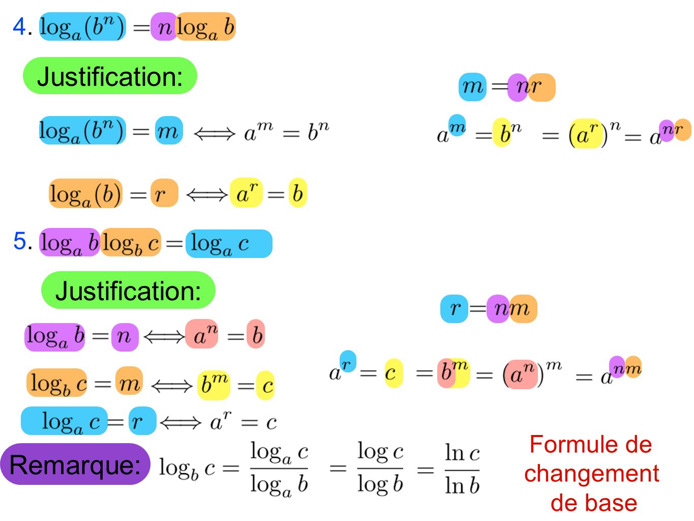 Justification: Justification: Remarque: 4. 5. Formule de changement