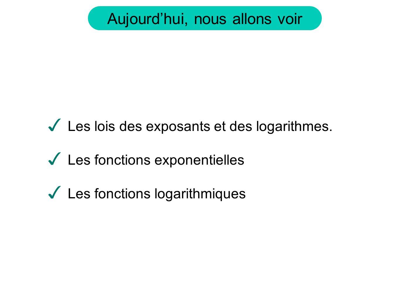Les lois des exposants et des logarithmes.
