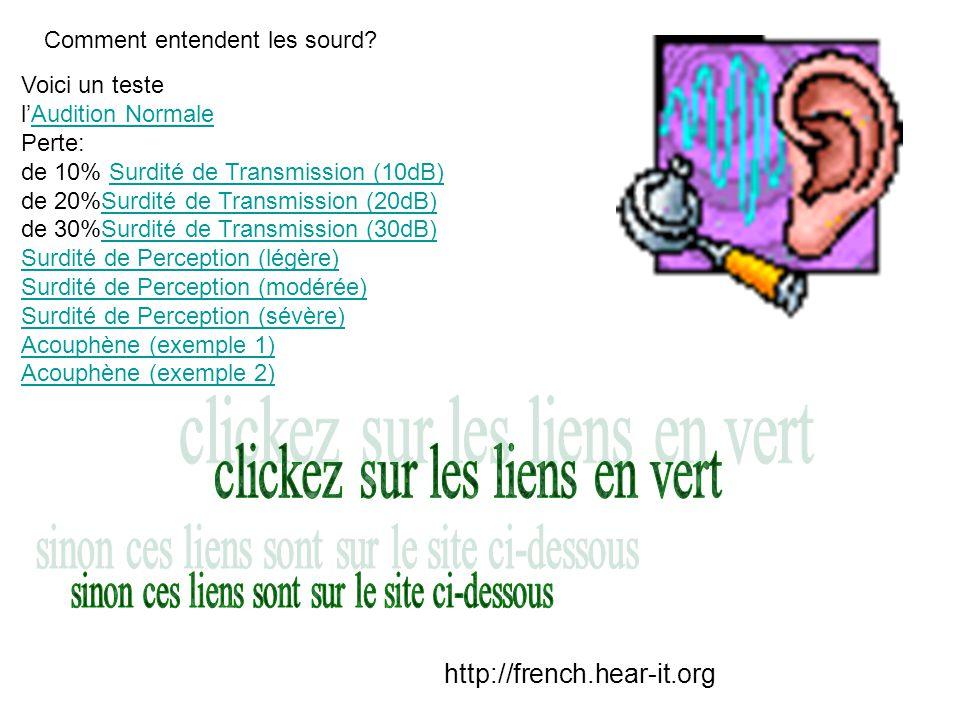 clickez sur les liens en vert