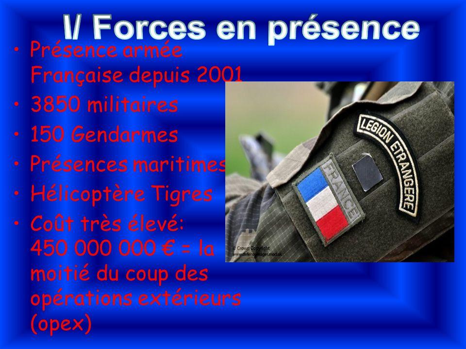 I/ Forces en présence Présence armée Française depuis 2001
