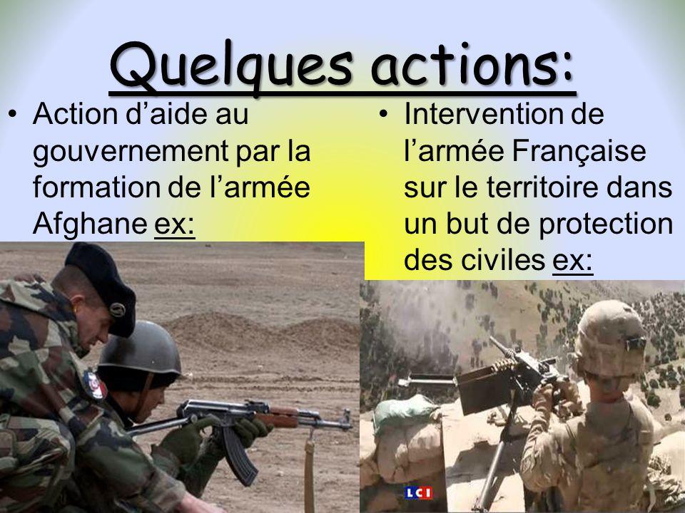 Quelques actions: Action d'aide au gouvernement par la formation de l'armée Afghane ex: