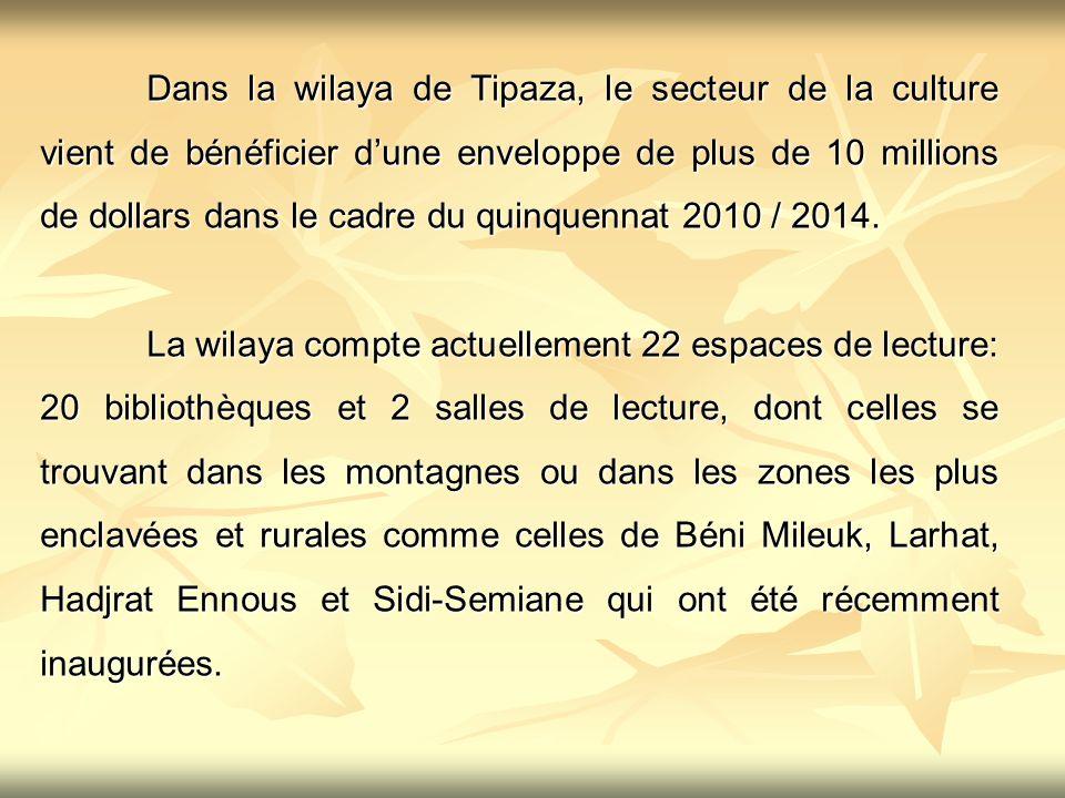 Dans la wilaya de Tipaza, le secteur de la culture vient de bénéficier d'une enveloppe de plus de 10 millions de dollars dans le cadre du quinquennat 2010 / 2014.