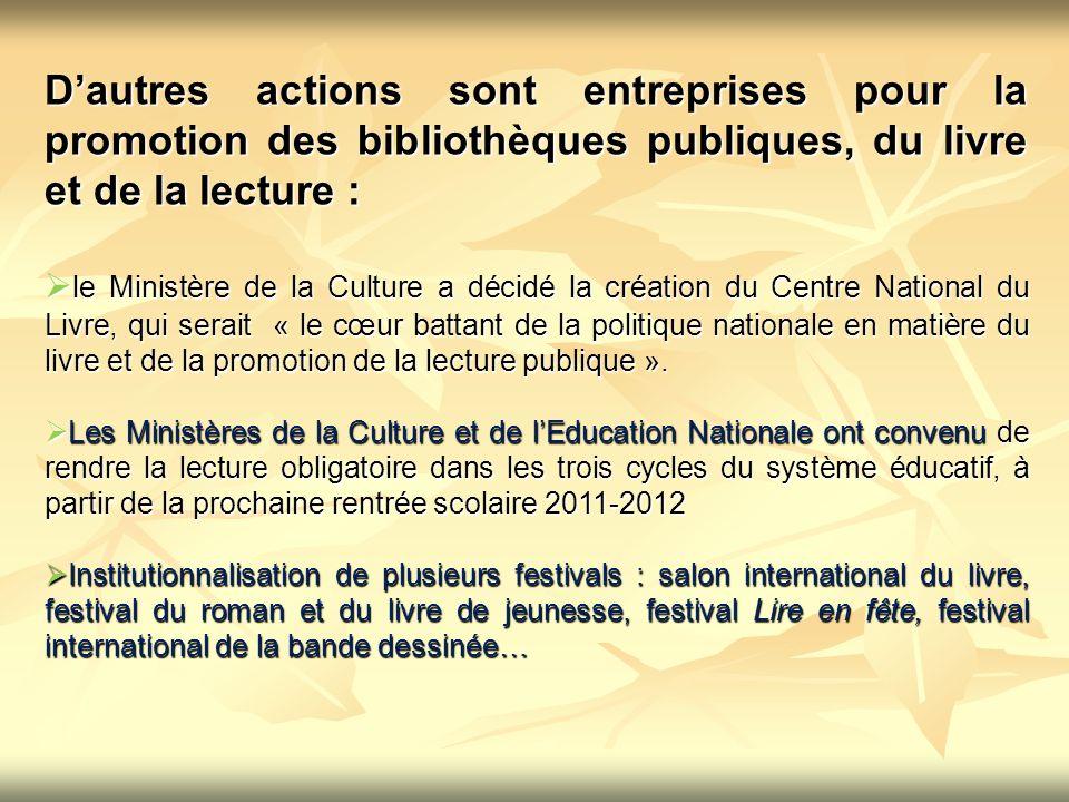 D'autres actions sont entreprises pour la promotion des bibliothèques publiques, du livre et de la lecture :