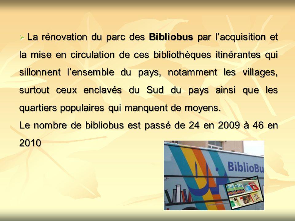 Le nombre de bibliobus est passé de 24 en 2009 à 46 en 2010