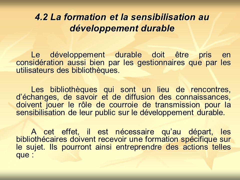 4.2 La formation et la sensibilisation au développement durable