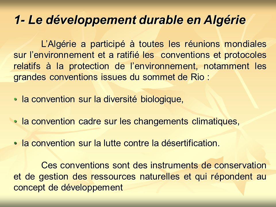 1- Le développement durable en Algérie