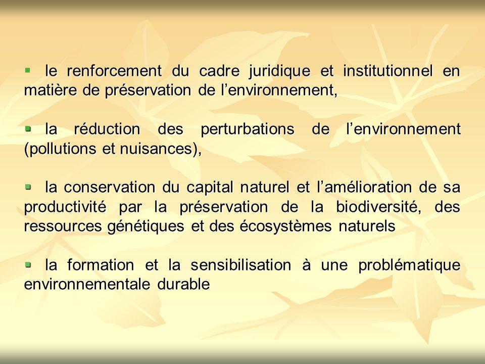 le renforcement du cadre juridique et institutionnel en matière de préservation de l'environnement,