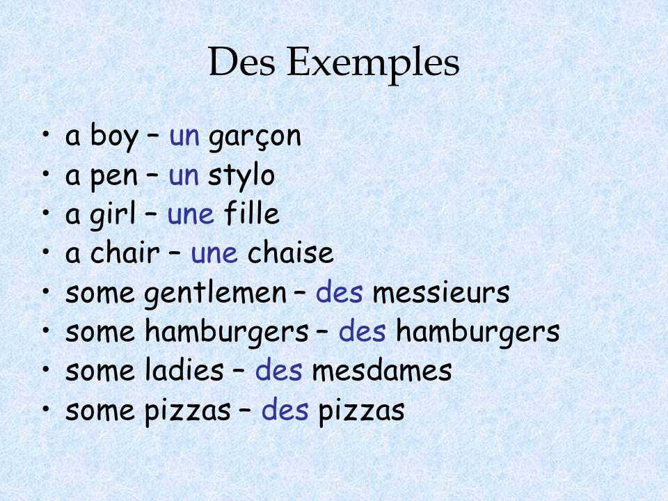Des Exemples a boy – un garçon a pen – un stylo a girl – une fille