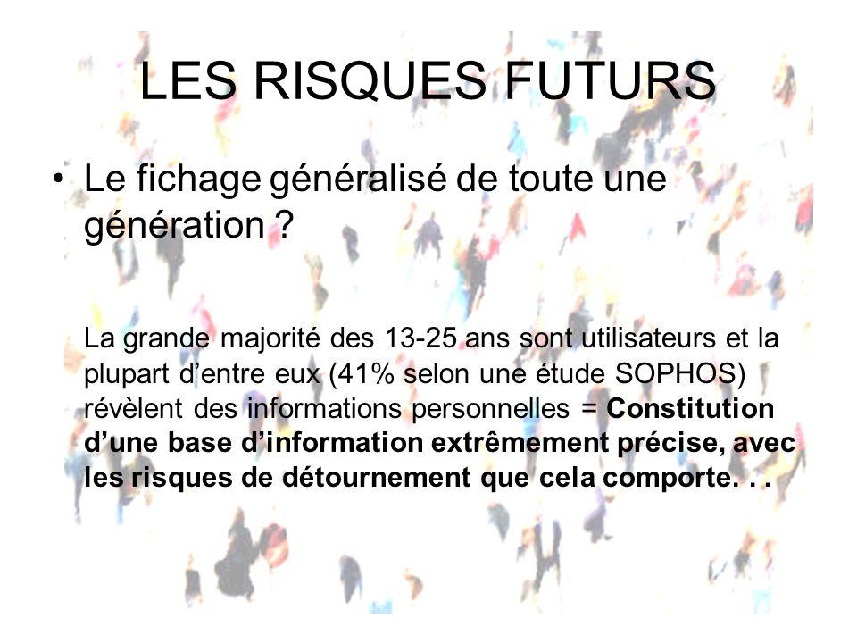 LES RISQUES FUTURS Le fichage généralisé de toute une génération
