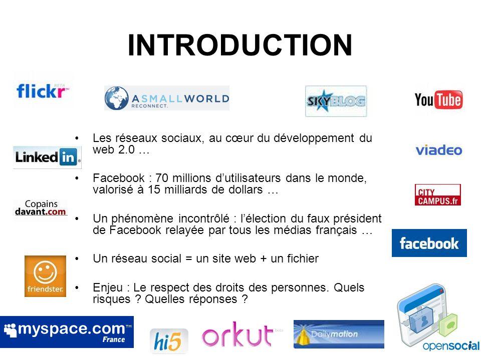 INTRODUCTION Les réseaux sociaux, au cœur du développement du web 2.0 …
