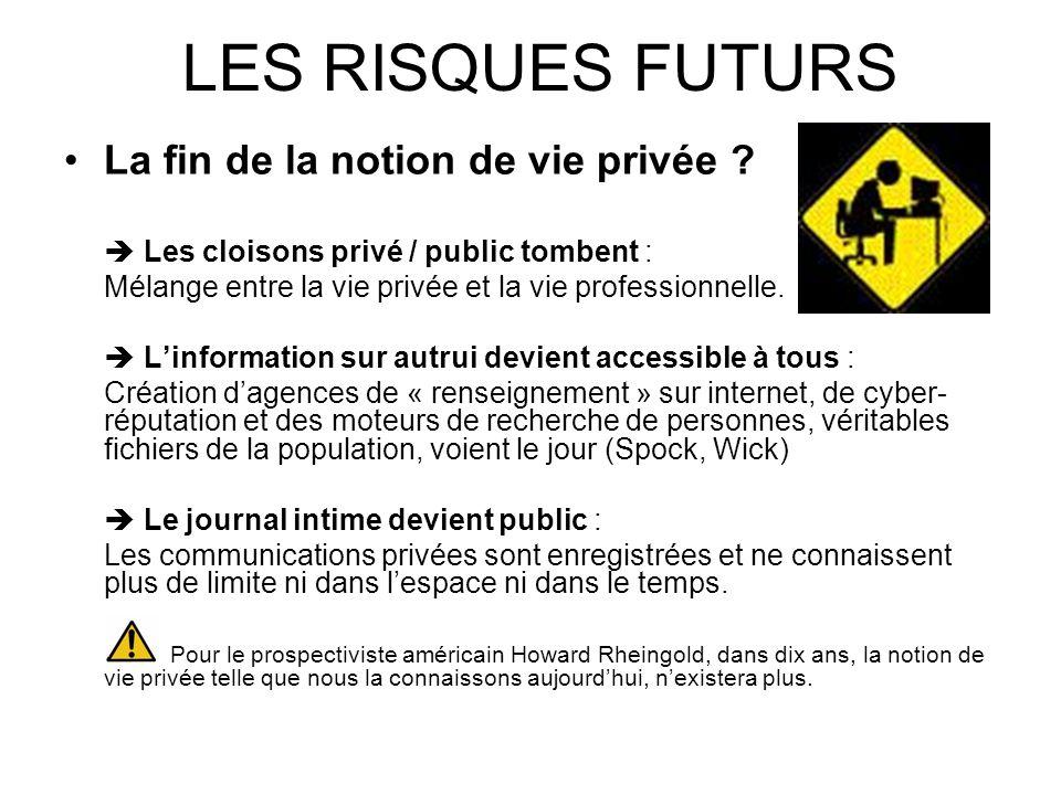 LES RISQUES FUTURS La fin de la notion de vie privée