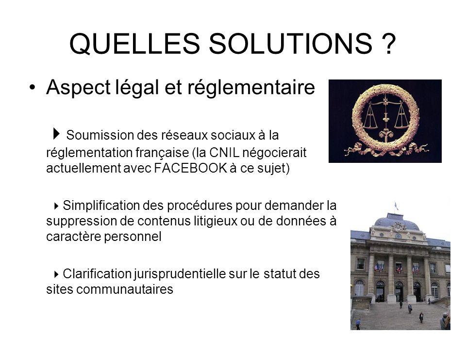 QUELLES SOLUTIONS Aspect légal et réglementaire