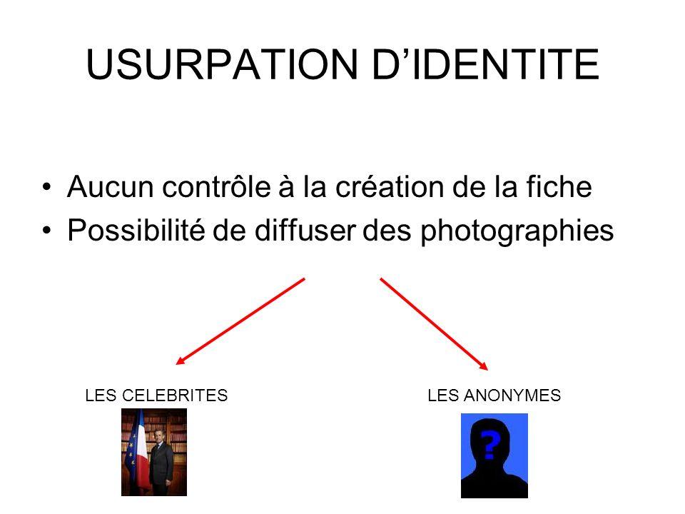 USURPATION D'IDENTITE
