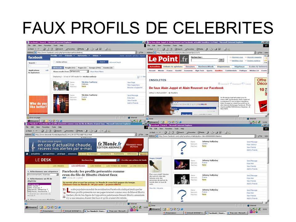 FAUX PROFILS DE CELEBRITES