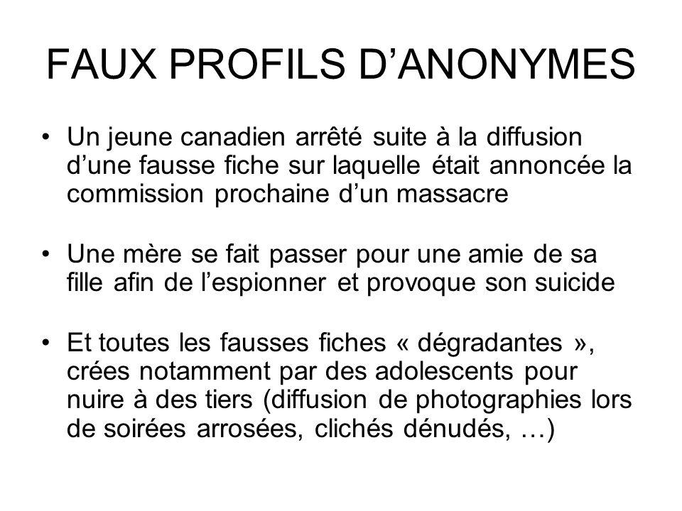 FAUX PROFILS D'ANONYMES